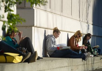 Students studying outside the Chemistry lecture hall.