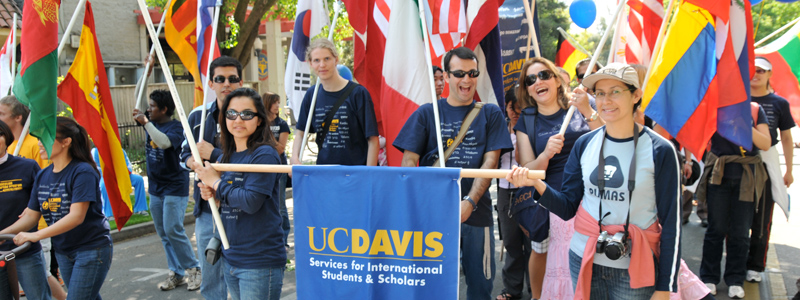Students in the Picnic Day parade representing Services for International Students and Scholars